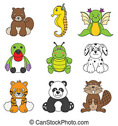 diferente, cute, jogo, vetorial, animal