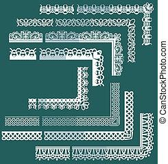 diferente, elementos, jogo, renda, quadro, -, bordas, fronteiras