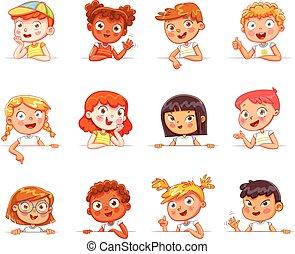 diferente, gestos, vário, tábua, segurando, nacionalidades, branca, crianças, vazio