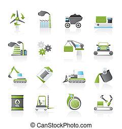 diferente, indústria, tipo, ícones