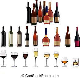 diferente, jogo, bottles., vetorial