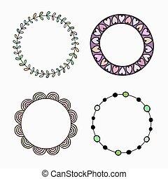 diferente, jogo, colorido, frames., quatro, vetorial