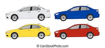 diferente, jogo, cor, car, realístico, modelos, car