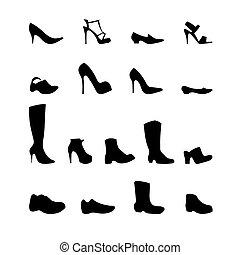 diferente, jogo, sapatos