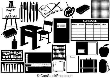 diferente, objetos, escola