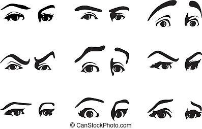 diferente, olho, ilustração, vetorial, emotions., expressar, expressão