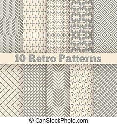 diferente, patterns., seamless, ilustração, vetorial, retro