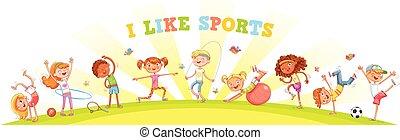 diferente, tipos, natureza, acoplado, esportes, fundo, crianças