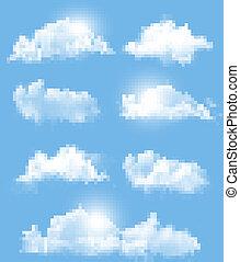 diferente, transparente, jogo, vector., clouds.