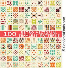 diferente, (with, padrões, seamless, swatch)., vetorial, retro