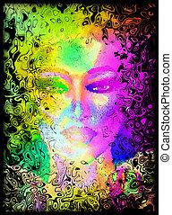 digital, face abstrata, womans, arte