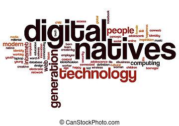 digital, palavra, nuvem, nativos