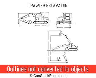 dimensões, escavador, típico, blueprint, modelo, total, crawler, esboço