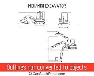 dimensões, escavador, típico, blueprint, modelo, total, mini, esboço
