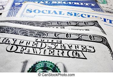 dinheiro, cartões seguro social