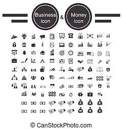 dinheiro, escritório negócio, ícone