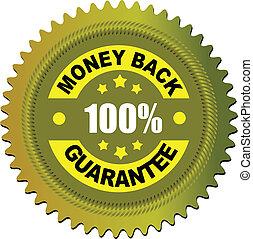dinheiro, etiqueta, vetorial, guarantee., costas