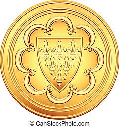 dinheiro, moeda, ouro, ecu, vetorial, francês
