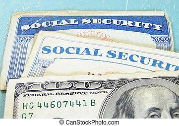 dinheiro, nós, closeup, social, cartões, segurança