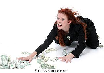 dinheiro, negócio mulher