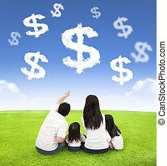 dinheiro, nuvens, prado, família, sentando