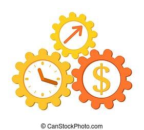 dinheiro., renda, tempo, conceito, fazer, dinheiro, crescimento