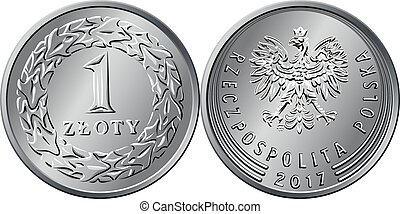 dinheiro, um, polaco, vetorial, moeda, zloty