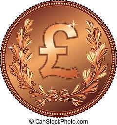 dinheiro, vetorial, libra, moeda ouro