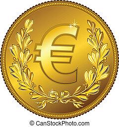 dinheiro, vetorial, moeda ouro, euro