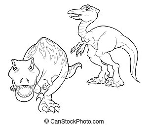 dinossauro, lineart, caricatura