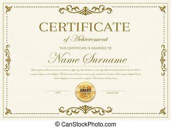 diploma, modelo, vetorial, certificado, realização