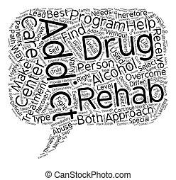 direita, álcool, rehab, texto, droga, como, wordcloud, conceito, fundo, selecione, centro