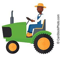 dirigindo, agricultor, tractor.
