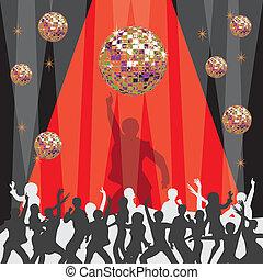 discoteca, partido, 1970's, convite