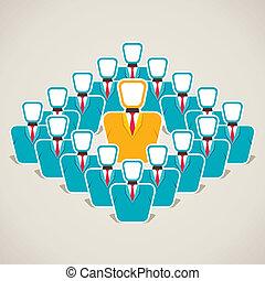 discuta, líder, equipe, seu, conceito