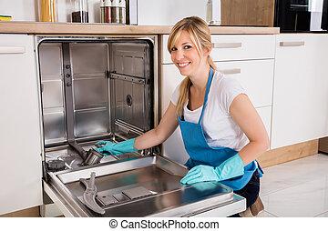 dishwasher, mulher, limpeza, cozinha