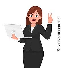 dispositivo, laptop, illustration., executiva, estilo vida, vetorial, computador, segurando, tecnologia, novo, desenho, vitória, digital, sinal., paz, cartoon., gesto, modernos, mostrando, jovem, personagem, femininas, v