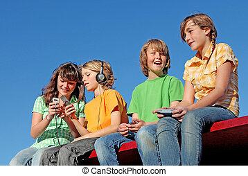 dispositivos, crianças, elétrico, tecnologia, tocando