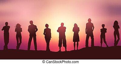 distancing, silhuetas, social, contra, céu, pôr do sol, pessoas