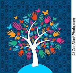 diversidade, árvore, fundo, mãos