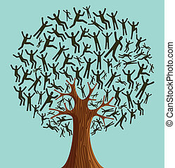 diversidade, árvore, isolado, pessoas