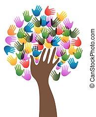 diversidade, árvore, mãos