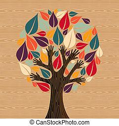 diversidade, abstratos, árvore, mãos