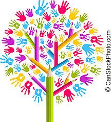 diversidade, educação, árvore, mãos