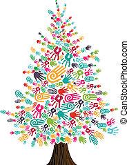diversidade, mãos, árvore, natal, isolado