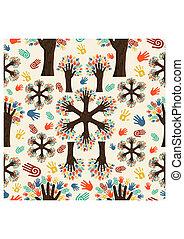 diversidade, mãos, árvore, padrão
