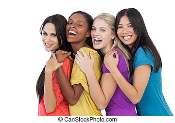 diverso, rir, câmera, mulheres, abraçar, jovem