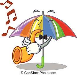 divertimento, arco íris, trompete, guarda-chuva, chracter