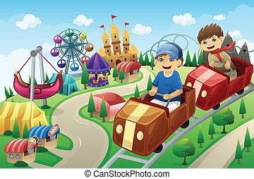 divertimento, crianças, parque, tendo, divertimento
