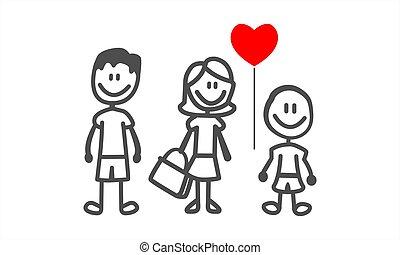 divertimento, família, vetorial